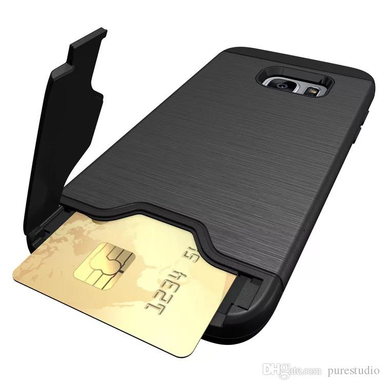 pretty nice 86736 5da3f For Galaxy S7 S8 S9 Wallet Case, Fully Body Protective Armor Hybrid Card  Slot Holder,ID Credit Card Travel Wallet