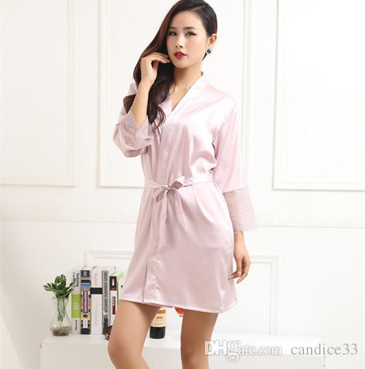 cc70ba3699 Fashion Silk Bridesmaid Bride Robe Sexy Women Short Satin Wedding Kimono  Robes Sleepwear Nightgown Dress Woman Bathrobe Pajamas