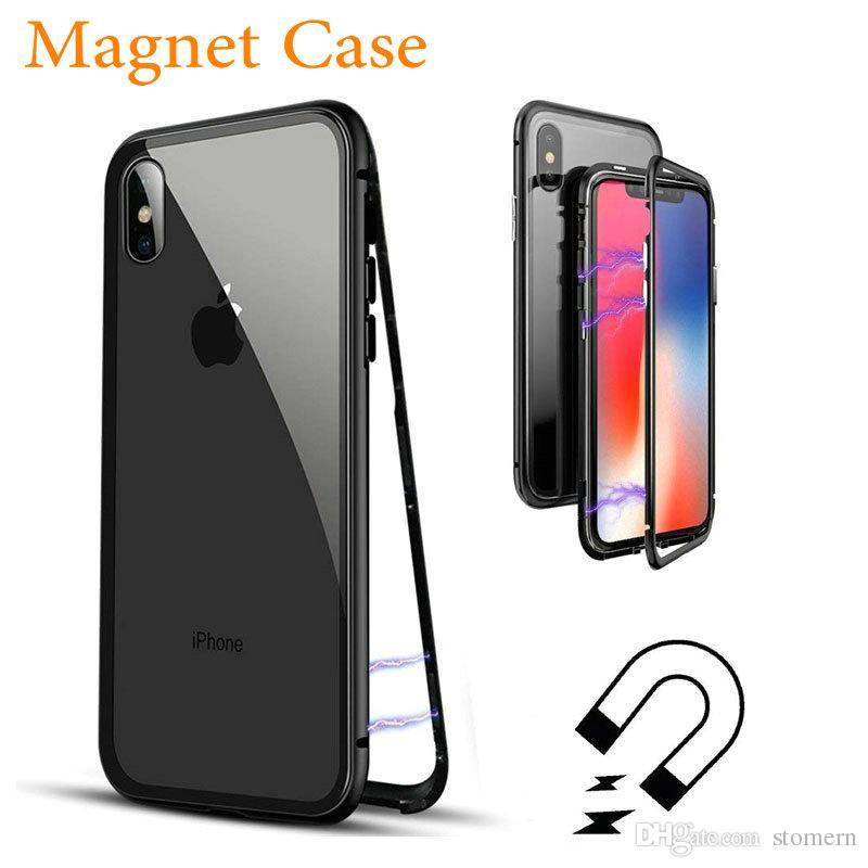 354123f0ab2 Personalizar Carcasa Caja De Adsorción Magnética Para Iphone X 8 7 6 6 S  Más Metal Marco De Aluminio De Cristal Templado Tapa Trasera Del Teléfono  Imán ...