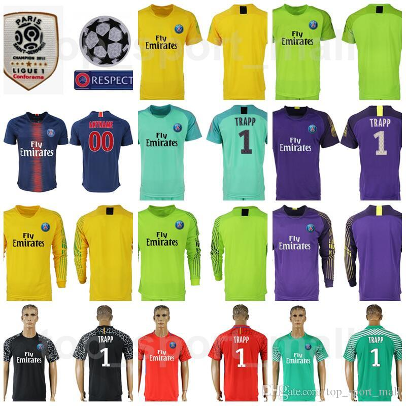 8edf936b400 18 19 Season Ligue 1 Goalkeeper GK PSG 1 Gianluigi Buffon Jersey Long  Sleeve Paris Saint Germain Kevin Trapp Areola Football Shirt Kits