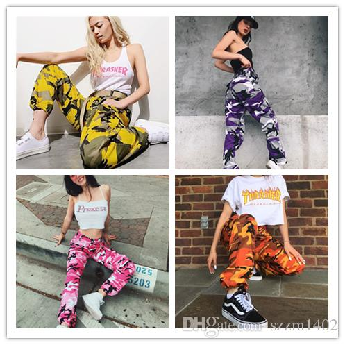 55c8d580868df 2019 Fashion Girls Harem Hip Hop Dancing Pants Women Cotton Camouflage  Pants Army Fatigue Cargo Capris Straight Multi Pocket Trousers From  Szzm1402