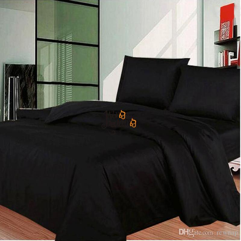 Wholesale Solid Black Bedding Set Modern Au/Uk/Us Single Double Queen King Size  Bed Duvet Cover Bed Sheet Bed Linen Pillowcases Set Queen Size Duvet Covers  ...