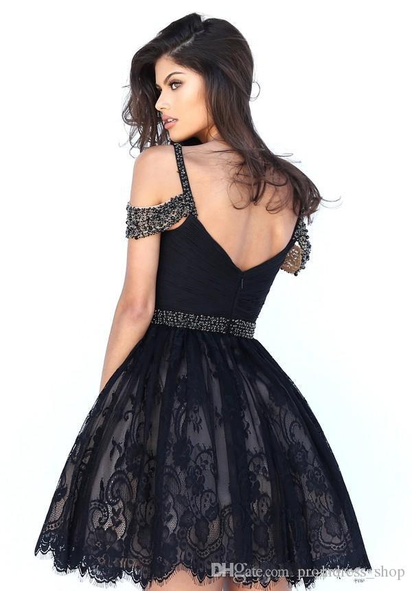 2019 New Sweetheart Perlen Short Homecoming Kleider Evening Formal Pageant Kleider Little Black Kleider Knne Länge A LIne Lace Formal Zipper