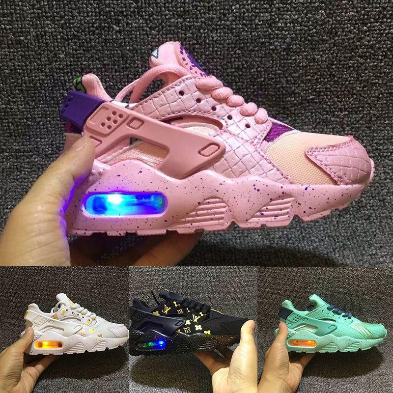 ec51583431 Flash Light Air Huarache Kids Running Shoes Sneakers Infant Children  Huaraches Huraches Designer Hurache Casual Baby Boys Girls Trainers Discount  Kids ...