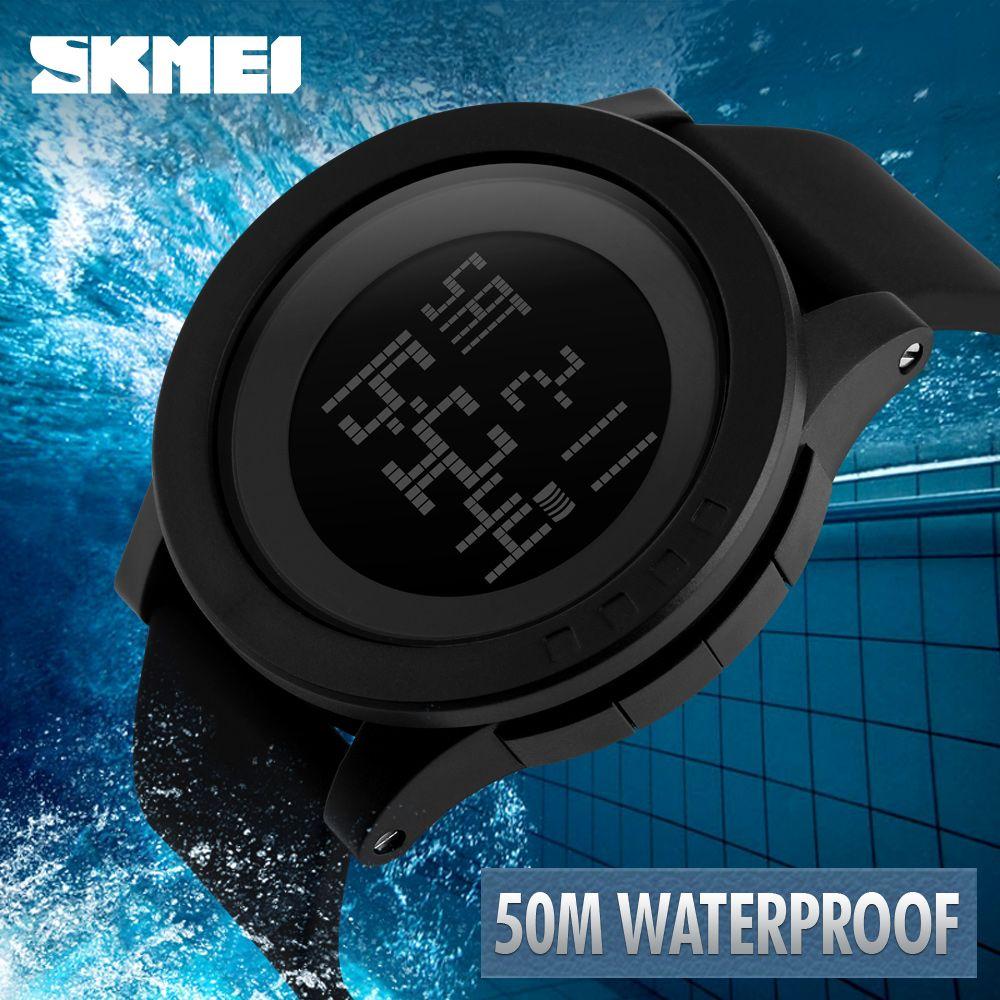 c5d82ef5587 Compre SKMEI 1142 Grande Mostrador Ao Ar Livre Dos Homens Relógios  Desportivos LED Digital Relógios De Pulso À Prova D  Água Chrono Calendário  Moda Casual ...