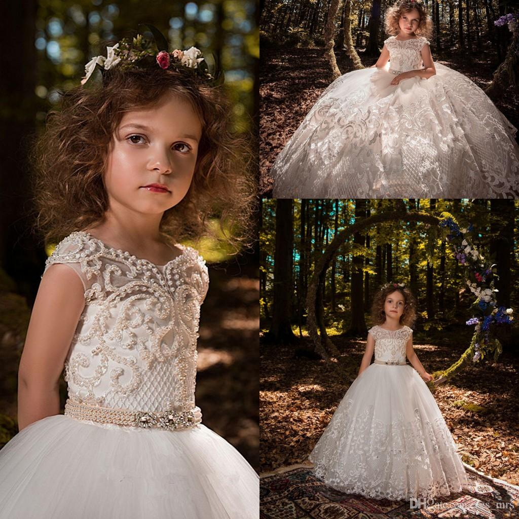 6e49b438246e1 2018 New Flower Girls Dresses Jewel Neck Lace Beading Pearls Light Pink  Crystal Sashes Cap Sleeves Party Ball Gown Kids Party Birthday Gowns