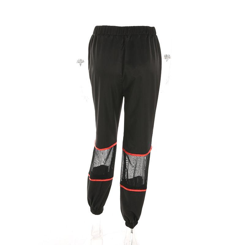 Malla negra Patchwork Cremallera Lápiz Pantalones Mujeres Sueltas Pantalones de Cintura Alta Casual Moda Femme Streetwear Pantalon