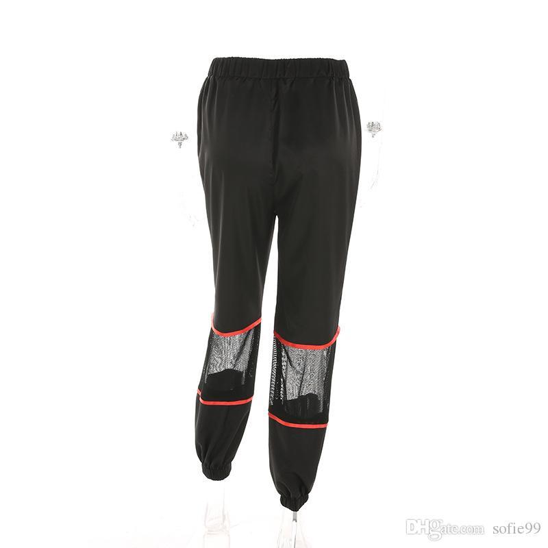 Pantaloni della matita della chiusura lampo della maglia nera della rappezzatura Pantaloni larghi della vita casuale allentati delle donne di modo Streetwear Pantalon
