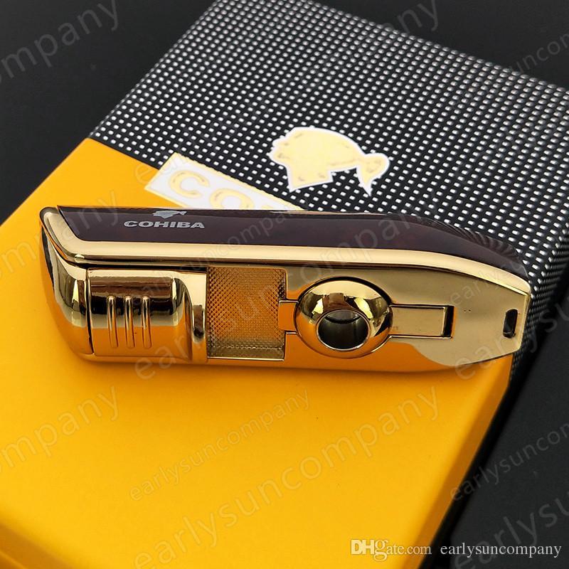 Güzel Yaratıcı Yüksek Kalite COHIBA Sarı Metal 3 Torch JET Alev Puro Çakmak Ile Punch