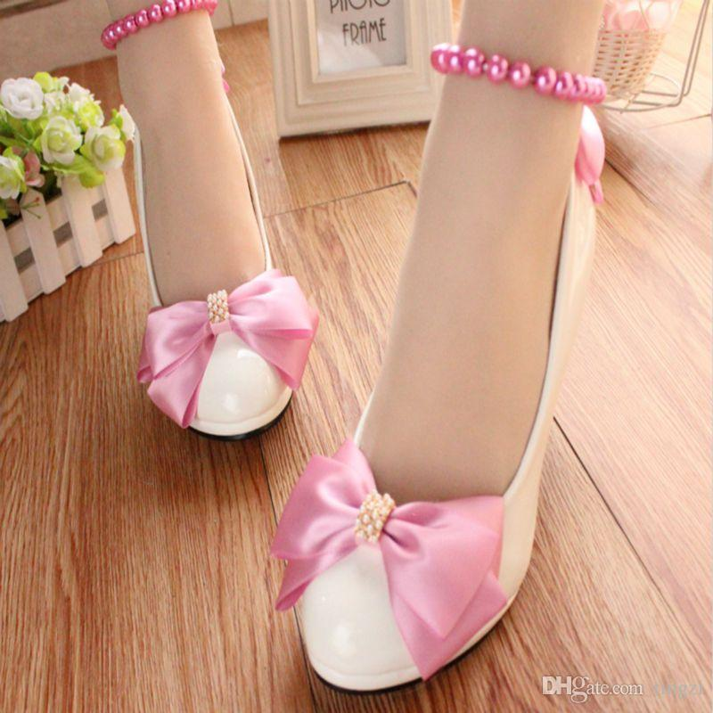 Pink Satin Bow Wedding Shoes Med Heels Round Toe Ladies Heels Shoes Women  Ladies Party Shoes For Bridesmaid Woman Pumps