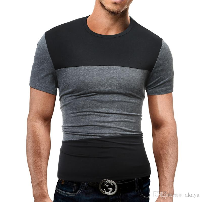 Marca 2018 maschio t-shirt manica corta o-collo uomo t-shirt hip-hop semplice splicing tee magliette e camicie maschio magliette XXXL 5363