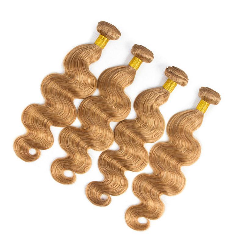 # 27 Honig Blonde 13x4 Lace Front Closure mit Spinnt Körperwelle Erdbeere Blonde Virgin Brasilianisches Menschenhaar 4 Bundles Angebote mit Verschluss