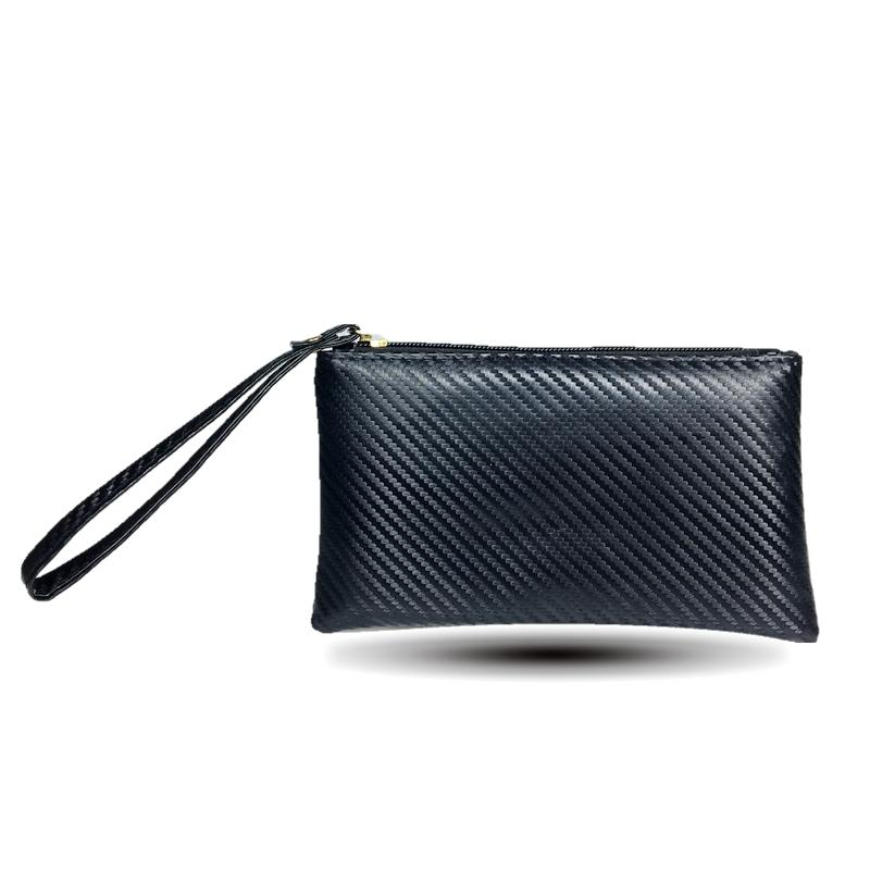 cdd7e6a9136c 2018 Men Women Wallets PU Leather Carbon Fiber Pattern Bag Zipper Clutch  Coin Purse Phone Wristlet Portable Long Small Handbag Small Purse Black  Leather ...