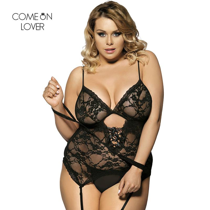 8ee1233ea54a Comeonlover Solid Color Erotic Teddy Vest + Garter + G String + Handcuffs  Lace Sleepwear Plus Size Babydoll RT7600 Sexy Lingerie D18110801 Satin  Pajamas For ...