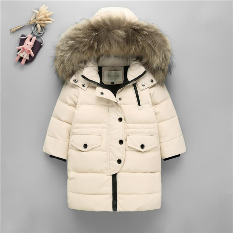 593472abb Children Cold Winter Warm Down Jacket Girls Thickening Boy long parka real  Fur Hooded Outerwear Coats Kids clothing girl clothes