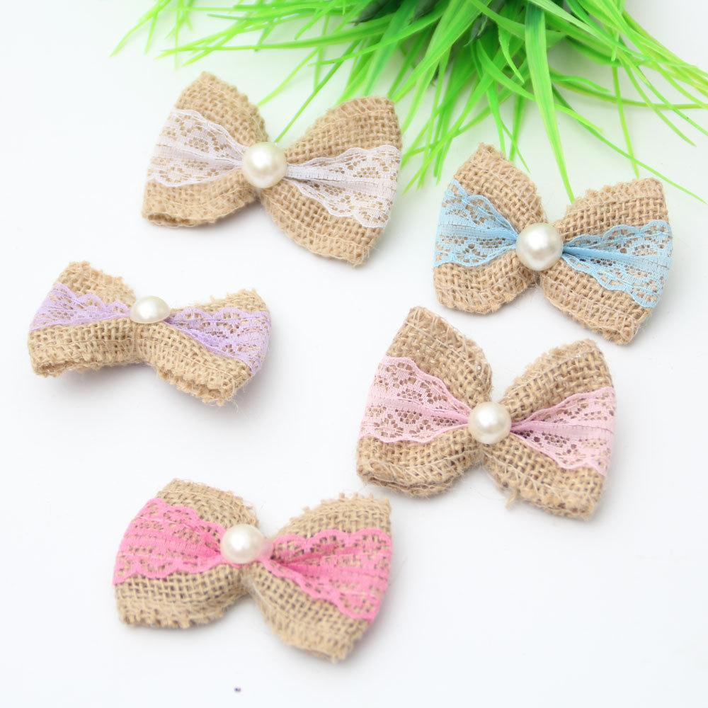 10fff95e65 2019 Handmade Linen Flower Bow Shaped Embroidered Patches For Clothing  Creative DIY Lace Pearl Clothes Supplies Sew On Parches From Homegardan