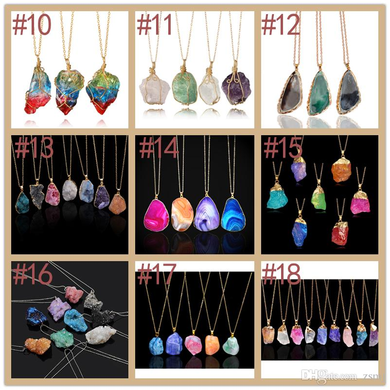 18 Styles 3.8~10cm Natural Stone Chakra Beads Pendants Healing Necklaces Alloy Crystal Choker DIY Jewelry