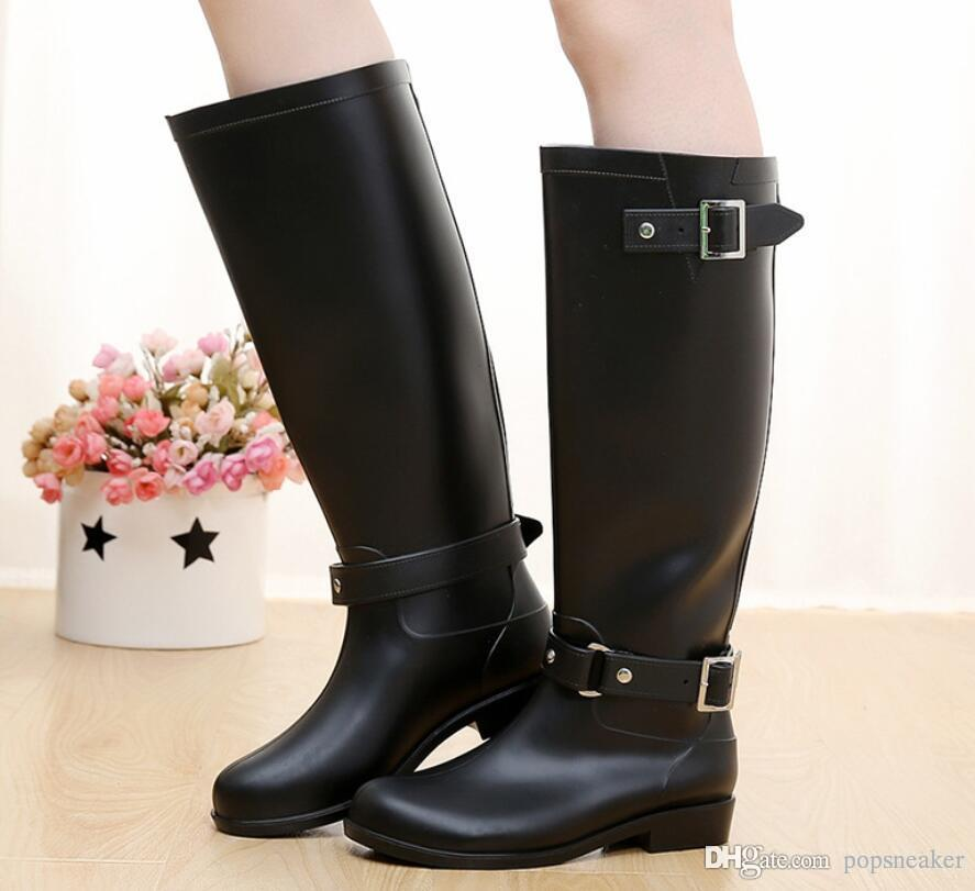 04e5a4bebb8 2019 Rainboots Brand Women Knee High Tall Fashion Rain Boots Waterproof  Welly Boots Rubber Rainboots Water Shoes Rainshoes Top Sale From  Popsneaker