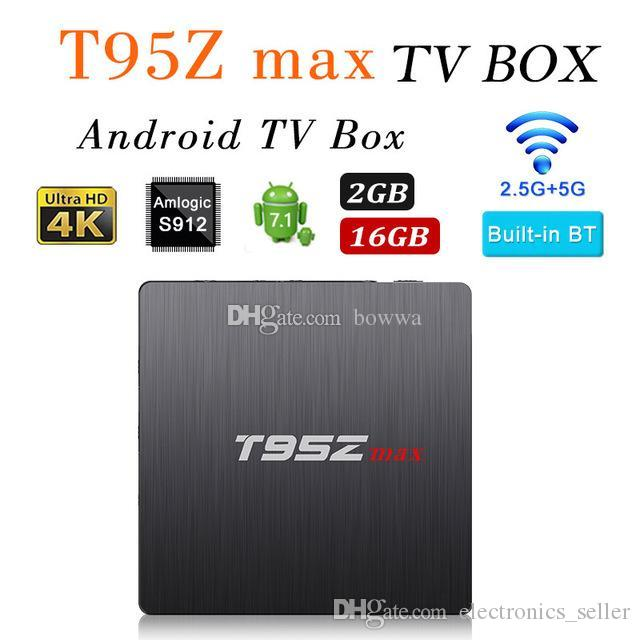 T95Z MAX Octa Core Amlogic S912 iptv tv box Dual band WiFi Bluetooth Media  Player Android 7 1 Smart TV Box VS T95Z PLUS H96 PRO