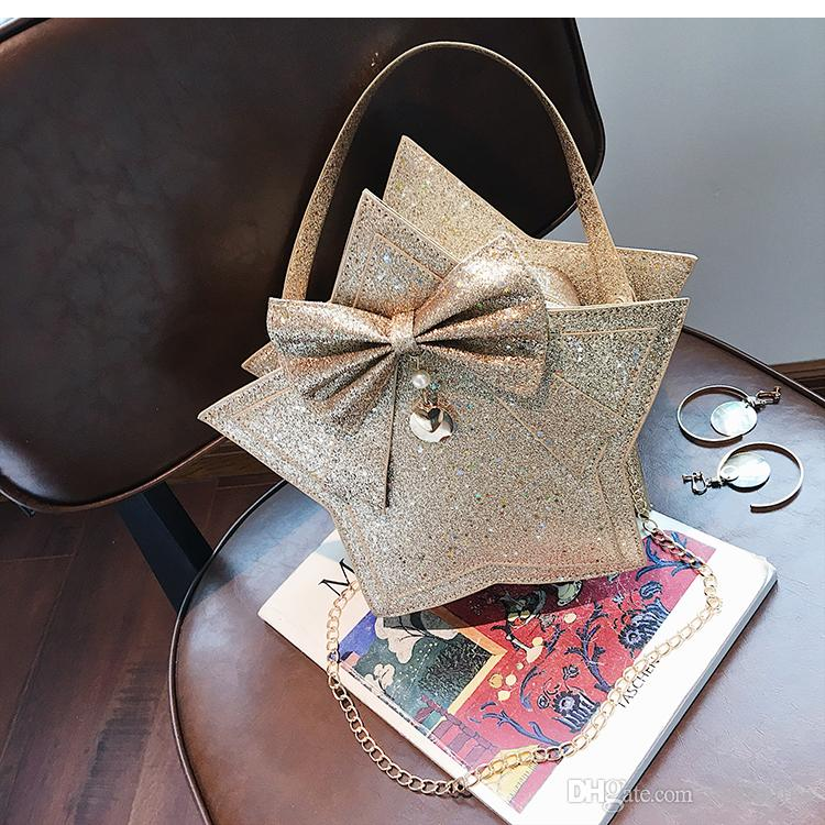 New style Japan and Korean Style soft chain Solid Bag Zipper Sequins Bow Cell Phone Pocket Single PU leather design handbag many color