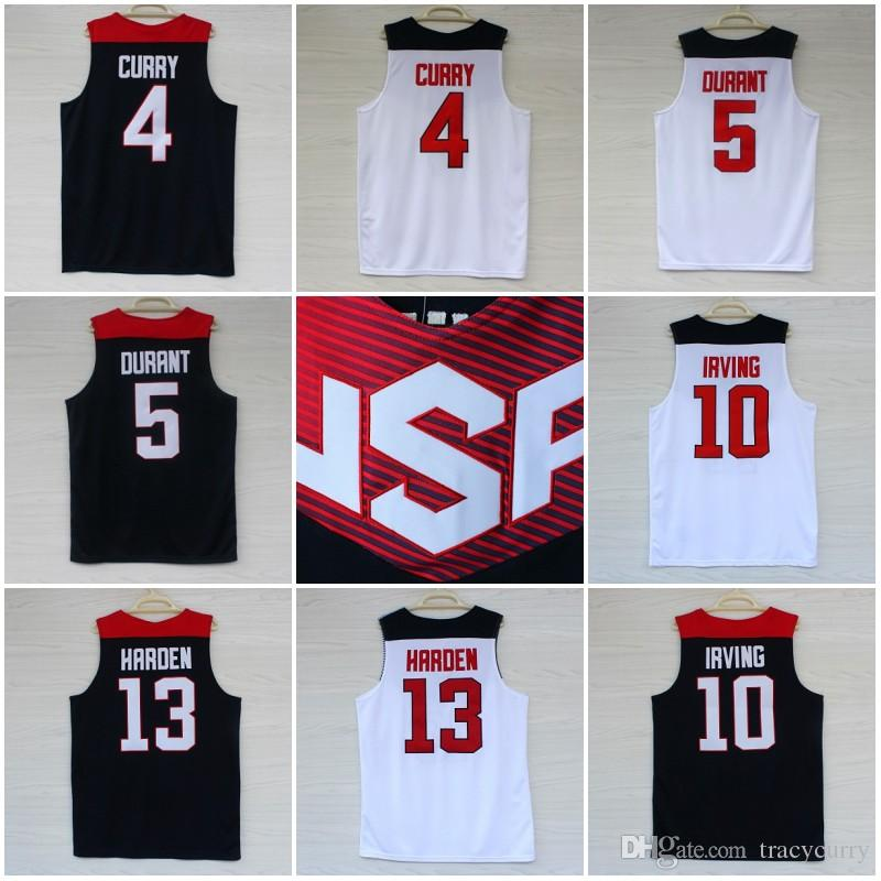 2019 2014 Basketball World Cup Jerseys Stitched 4 Stephen Curry 5 Kevin  Durant 10 Kyrie Irving 13 James Harden White Blue USA Basketball Jersey  From ... 369f9049a