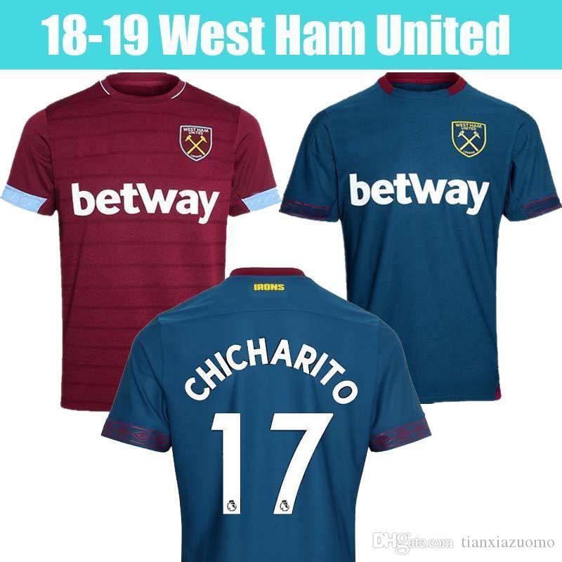 19a29d8eea9f8 18 19 West Ham Soccer Jersey CHICHARITO ARNAUTOVIC Carroll WILSHERE Camiseta  De Fútbol 2018 2019 WestHam United Camiseta Futbol Lanzini Maillot Por ...