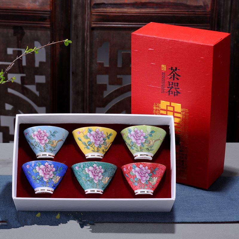 Satın Al 6 Adet Takım çin Seramik Bardak El Yapımı Boyama Kung Fu