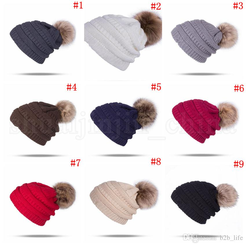 Compre Gorros De Mujer Otoño Invierno De Punto Skullies Casual Sombrero  Exterior Beanie Acanalado Sólido Con Pom es OOA2717 A  3.16 Del B2b life  f3e8ba50e28