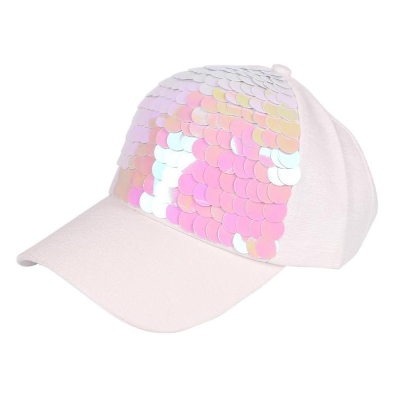33b9ca42ae18f Summer Women Adjustable Snapback Hat Fashion Sequin Glitter Baseball ...