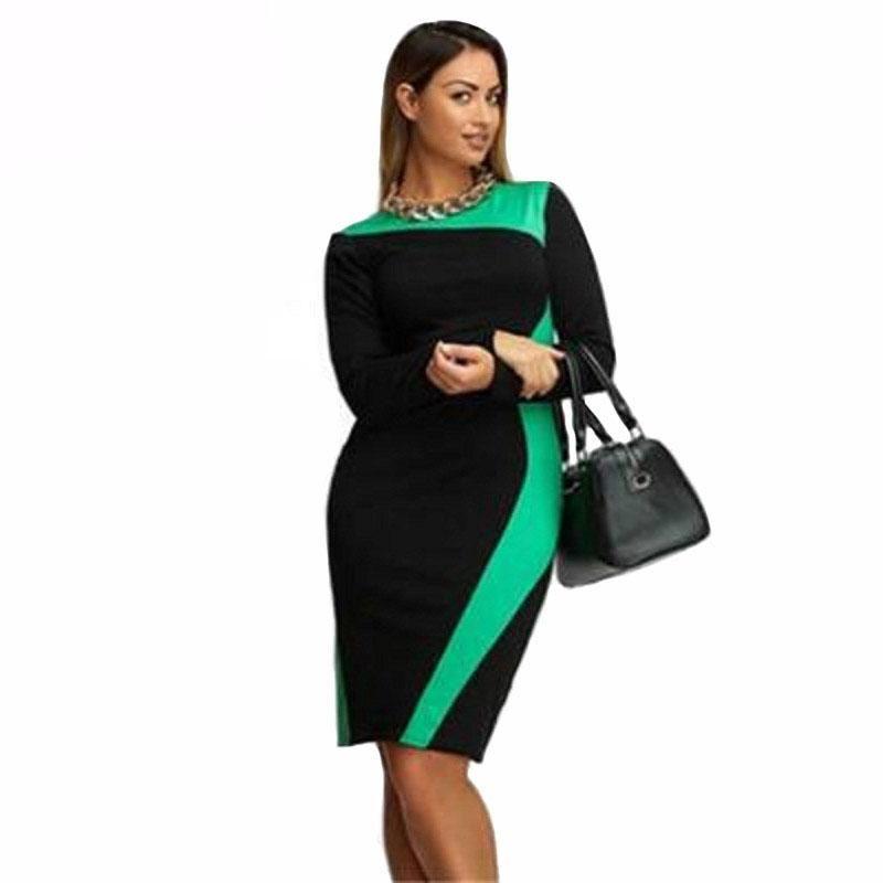 Plus Size Women Dresses Slim New Autumn Spring Long Sleeve Elegant