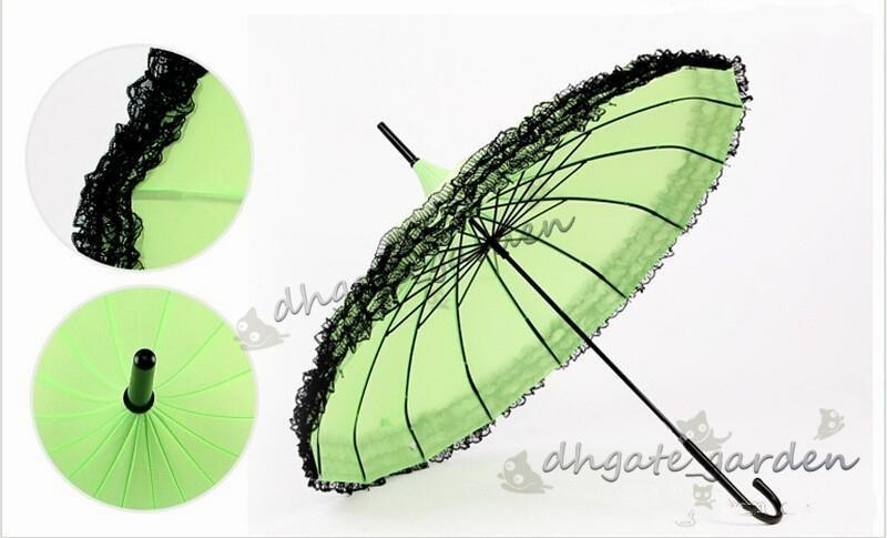 Yeni Zarif Yarı-Otomatik Dantel Şemsiye Fantezi güneşli ve yağmurlu Pagoda Şemsiye 11 renk mevcuttur