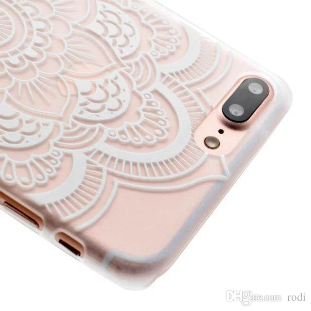 Art & Floral Pattern Design Slim Clear Case With Soft TPU Bumper + Hard PC Back Cover For iPhone X 8/7 6S/6 Plus SE/5S/5 Transparent Shell