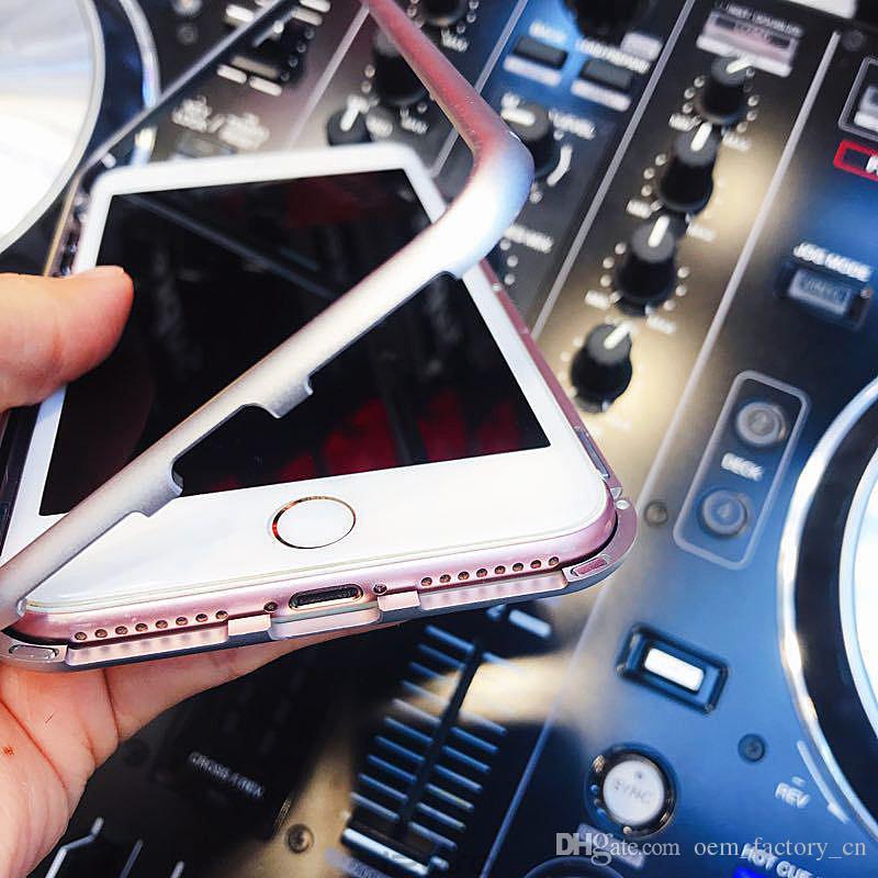 Caja magnética de metal para iPhone Xr Xs Max X 8 Plus con cobertura completa Marco de aleación de aluminio con cubierta de vidrio templado