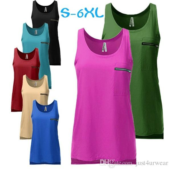 Women Chiffon Tank Tops Pocket Zipper Design Sleeveless Tshirts Summer Casual Vests Candy Colors