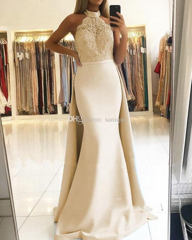 05a7d26663 Elegant Halter Lace Pink Champagne Prom Dresses 2019 Long Ruffles Evening  Gowns Floor Length Shop Prom Dress Xo Prom Dresses From Sanique