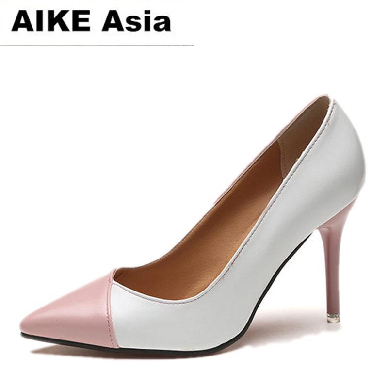 compre 2018 mujeres bombas moda spell color zapatos de tacón alto