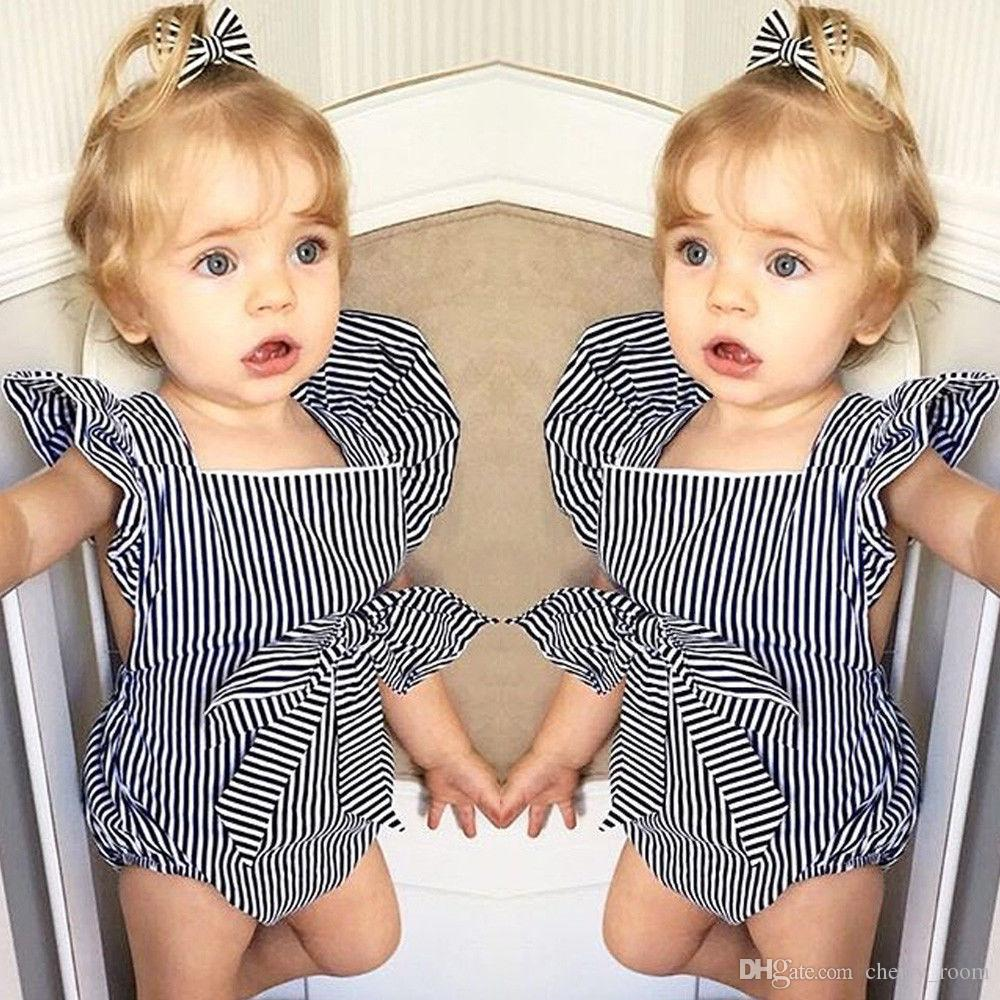 c1809001205 2019 Baby Clothes Infant Stripe Plaid Rompers Newborn Fly Sleeve Sleeveless  Jumpsuit Toddler Fashion Tutu Bowknot Bodysuit Kids Clothing A9572 From ...