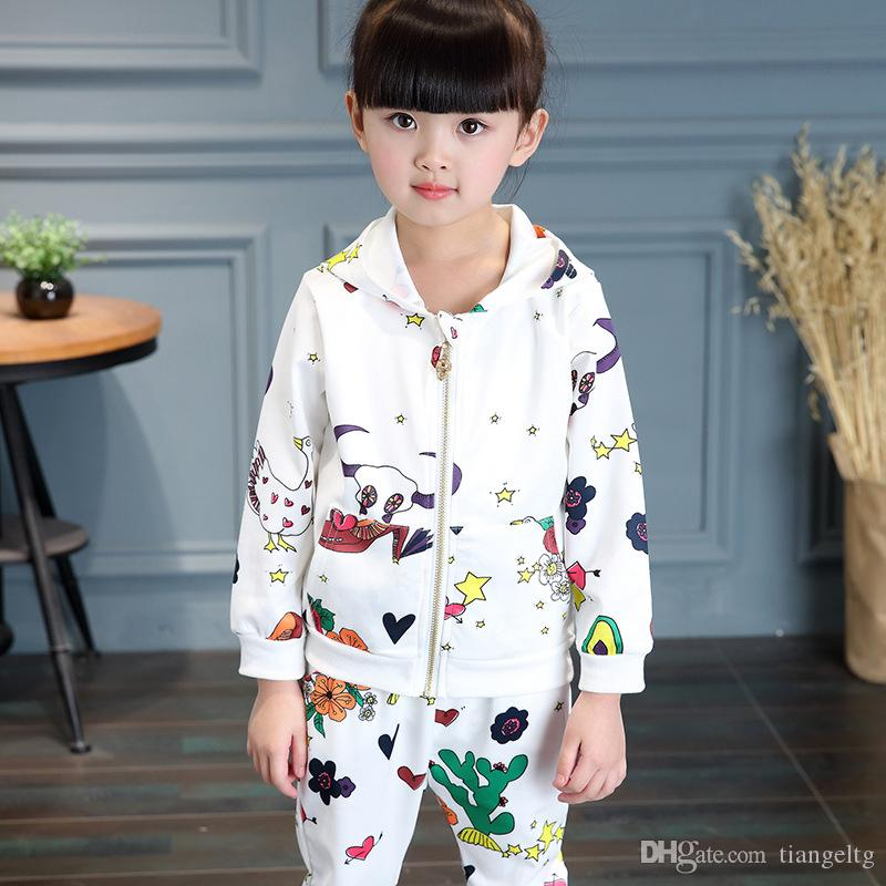 Girls Casual Clothing Sets Hoodie Pants Cartoon Graffiti Flower Zipper Sweater Pocket Long Sleeve Baby Kids Suits Spring Fall Outfits
