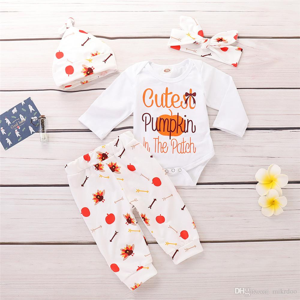 1c7e94c6 2019 Mikrdoo Thanksgiving Baby Boys Girls Clothes Set Pumpkin And Letters  Print Romper Top Pant With Hat Headband Outfit From Mikrdoo, $11.0 |  DHgate.Com