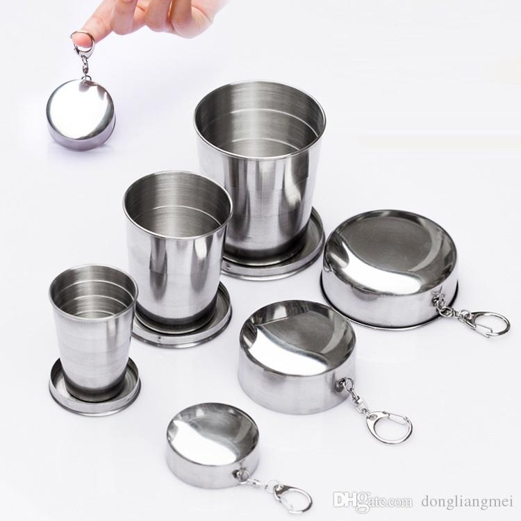 Stainless Steel mini Retractable Portable Outdoor Travel Camping Folding Foldable Collapsible Cup wine glass 60ml 150ML 250ML WN429