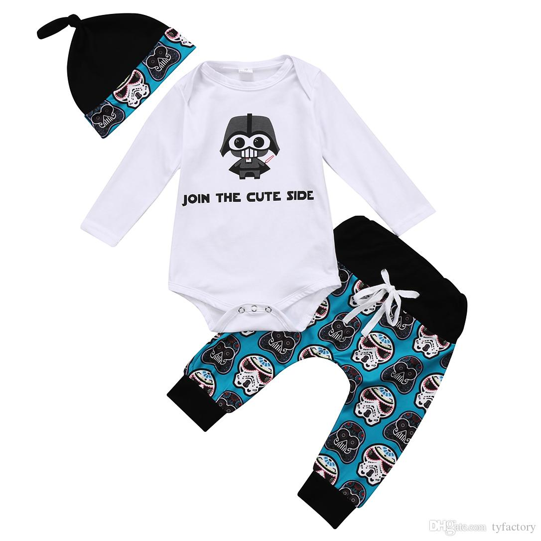 bdd8bcdb5 2018 Newborn Infant Baby Boys Skull Head Long Sleeves Romper + Long Pants +  Hat 3Pcs Set Outfits Letter Print Kid Boy Clothes