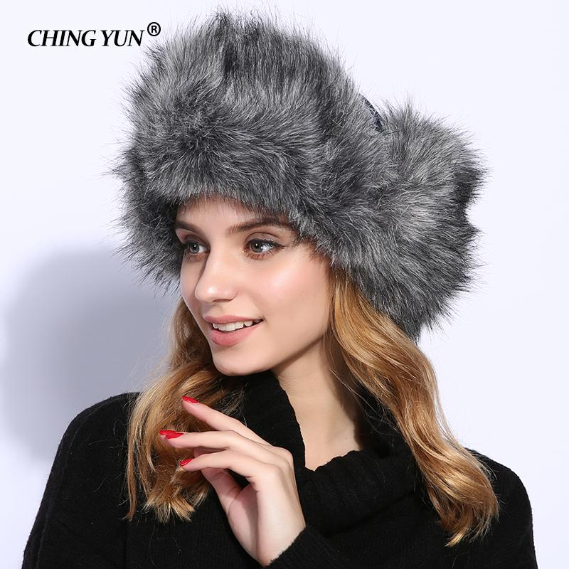2019 New Winter Women Hat Long Fur Bomber Hats For Print Flowers ... defb555ba3e0