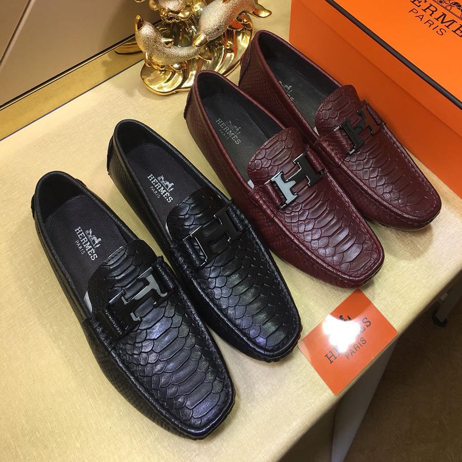 Acheter Marque De Luxe Alligator Mode Casual Hommes Chaussures En Cuir  Véritable Noir Slip On Hommes Mocassins Robe Flats Pour Driving Party Boîte  D origine ... 6ccb6c706ce