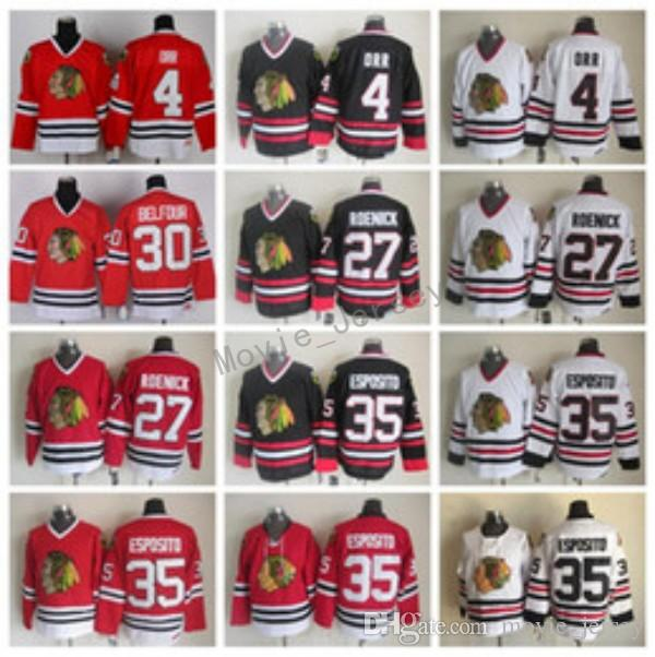 Wholesale Chicago Blackhawks Throwback 4 Bobby Orr Jersey Men Hockey 35  Tony Esposito 27 Jeremy Roenick 30 Ed Belfour Vintage Ccm Black White Red  By ...