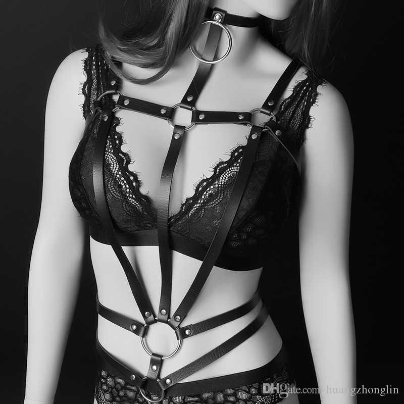 LEATHER BELT Bondage Body Cage Harness Lingerie of Women Sexy Tops Leather Harness Black Accessories Club Party Dance Halloween Wear