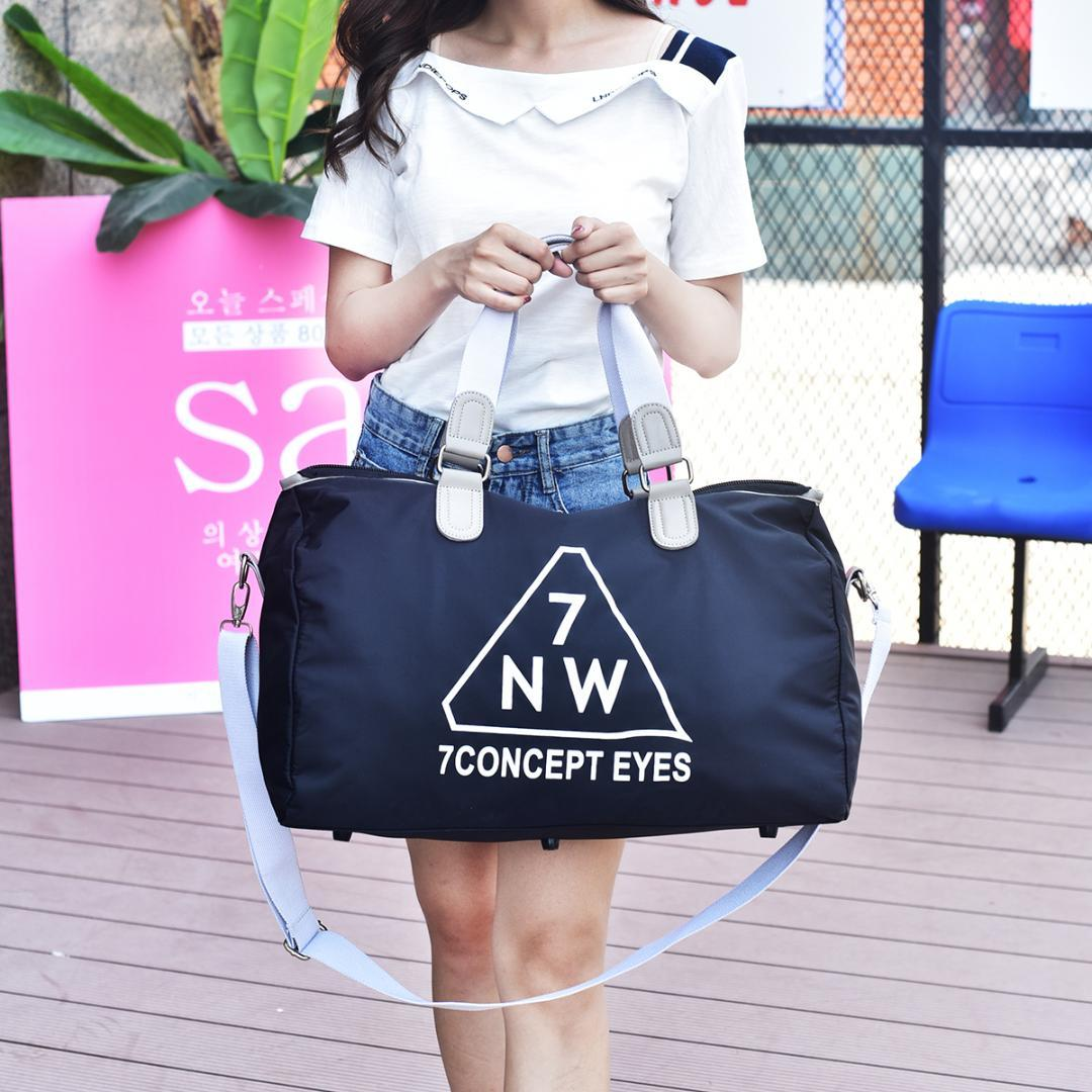 Luggage & Travel Bags New Fashion Simple Travel Bag Printed Embroidered Carry On Duffle Bag Short Distance Waterproof Letter Gym Bag Leisure Tote Male Professional Design