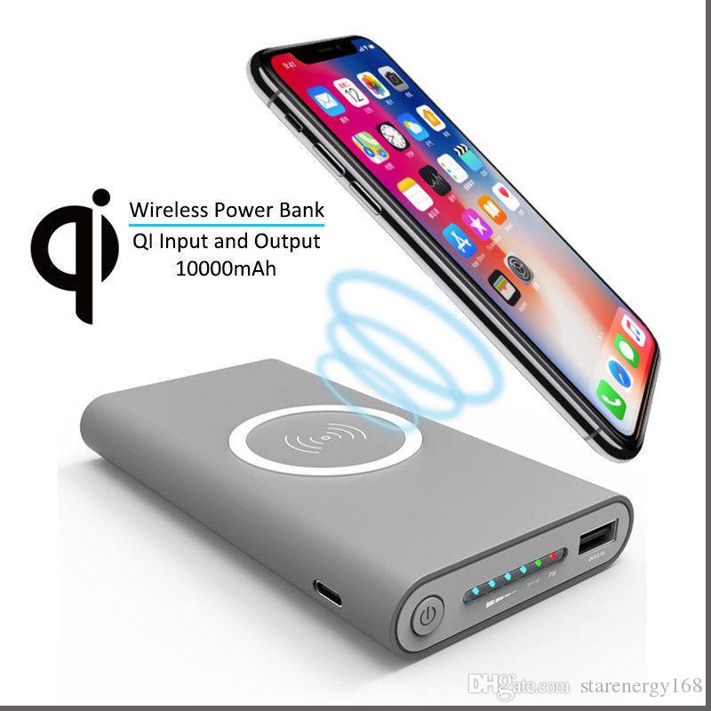 promo code 4a736 f30c4 Wireless Qi Charger 10000mAh Power Bank Fast Charging Adapter For Samsung  NoteS8 For iPhone 8 iphone X with Retail Box
