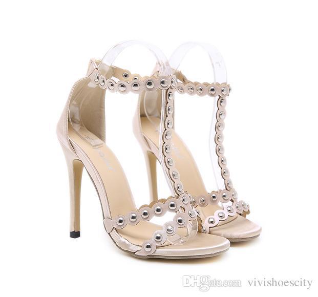 3af797e2ffd Luxury High Heels Sandal for Women Designer Shoes Satin Rivets T ...
