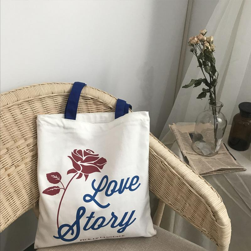 2019 Fashion YILE Zipped Cotton Canvas Rose Flower Eco Shopping Tote Shoulder Bag Love Story CY05