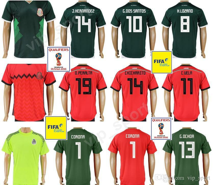 2018 World Cup Mexico Soccer Jerseys Mexican 10 G.DOS SANTOS Football Shirt  Kits Green Red Thai Quality Custom 14 J.HERNANDEZ 18 A.GUARDADO UK 2019  From ... f1d92214f